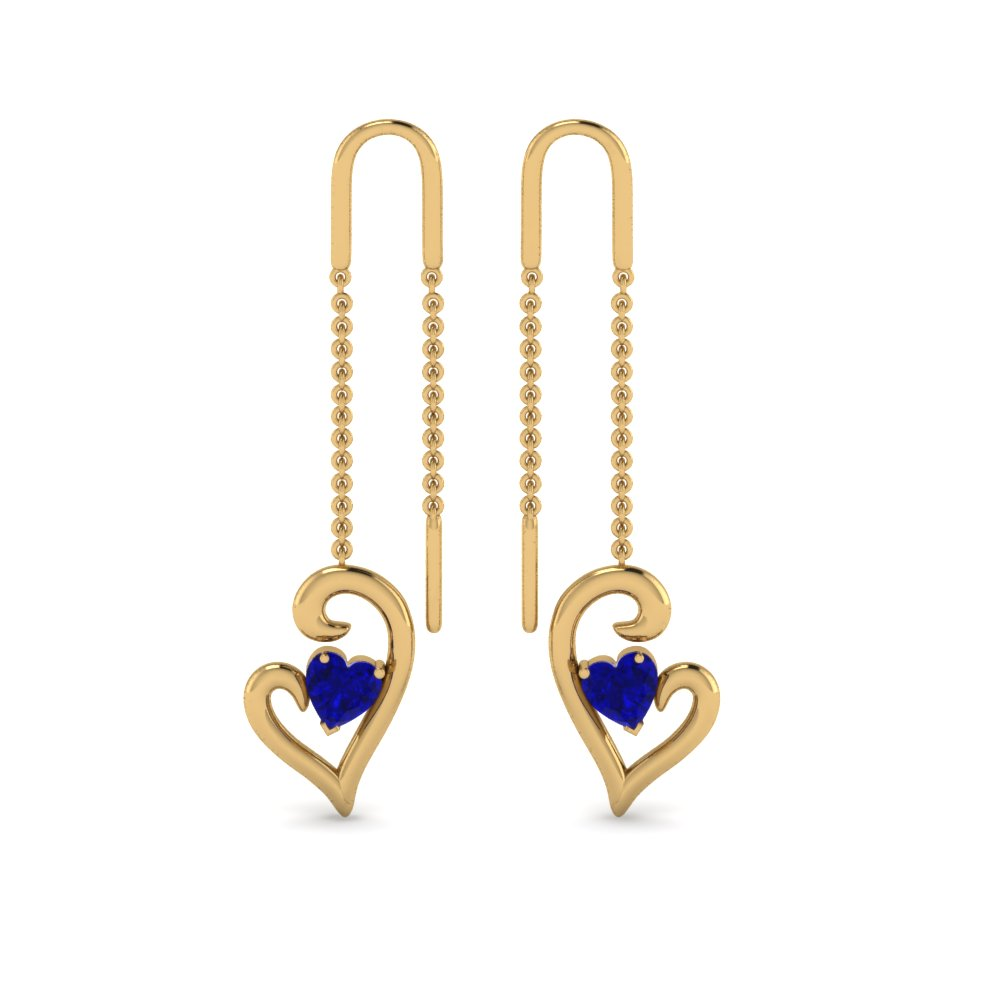 18K Yellow Gold Sapphire Drop Thread Earring