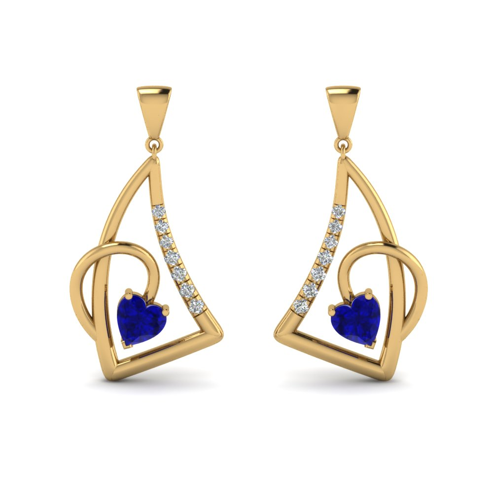 heart sapphire stud drop earring in 14K yellow gold FDEAR8849GSABL NL YG