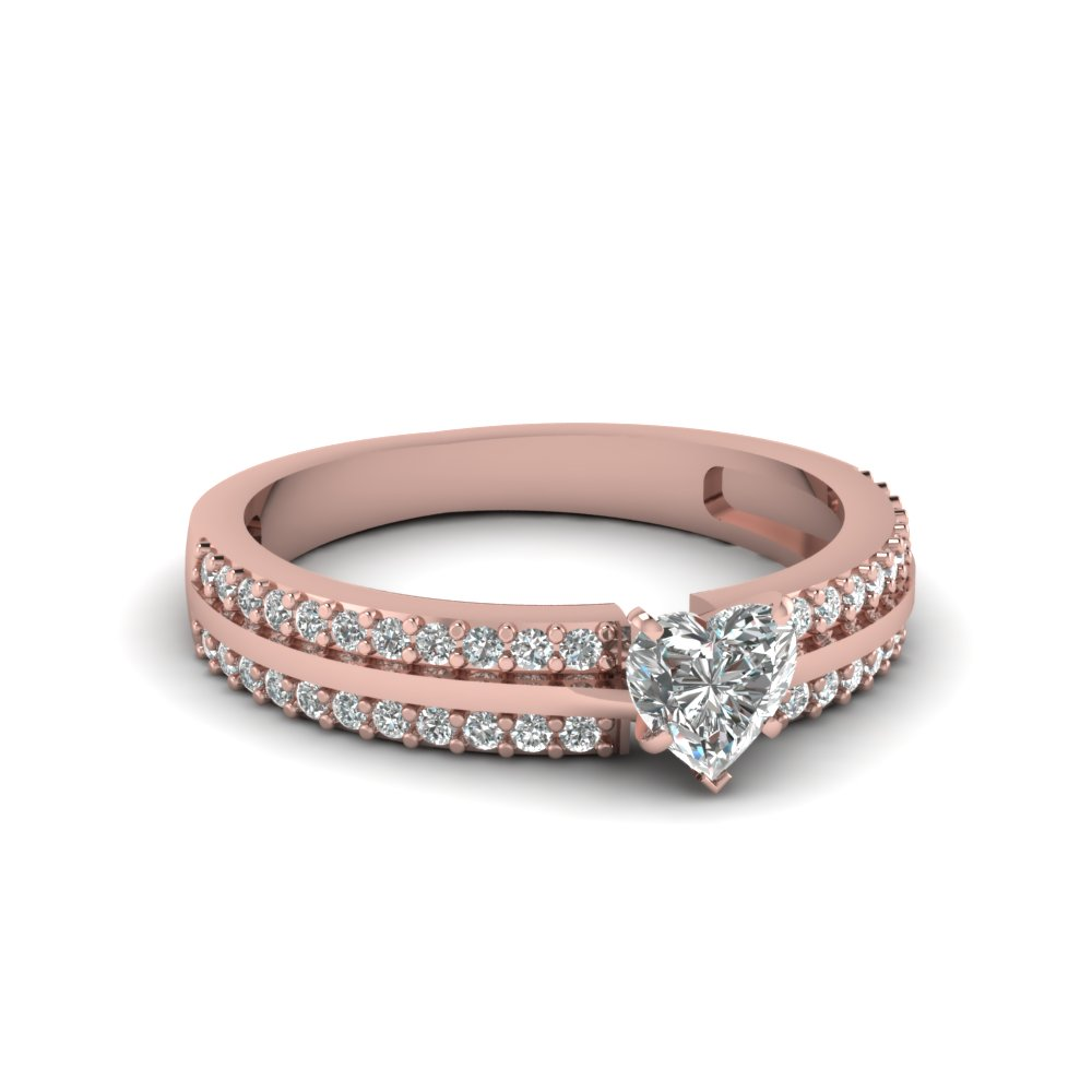heart shape 2 row half carat diamond engagement ring in 14K rose gold FDENS3013HTR NL RG 30