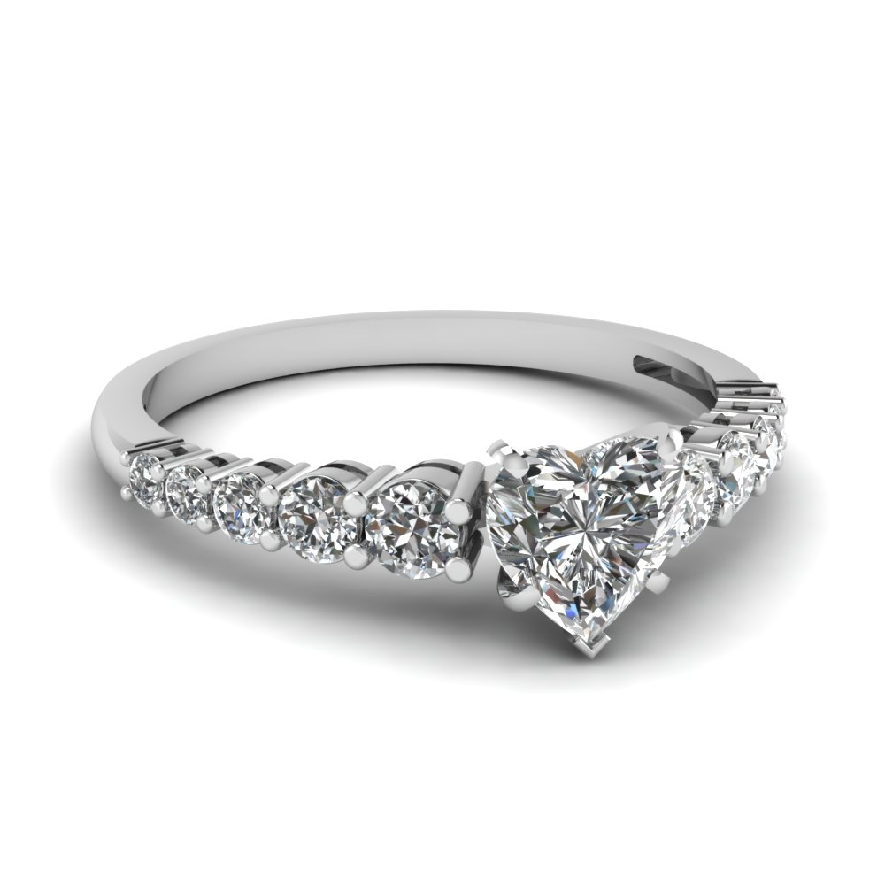 graduated heart diamond engagement ring in FDENS3056HTR NL WG