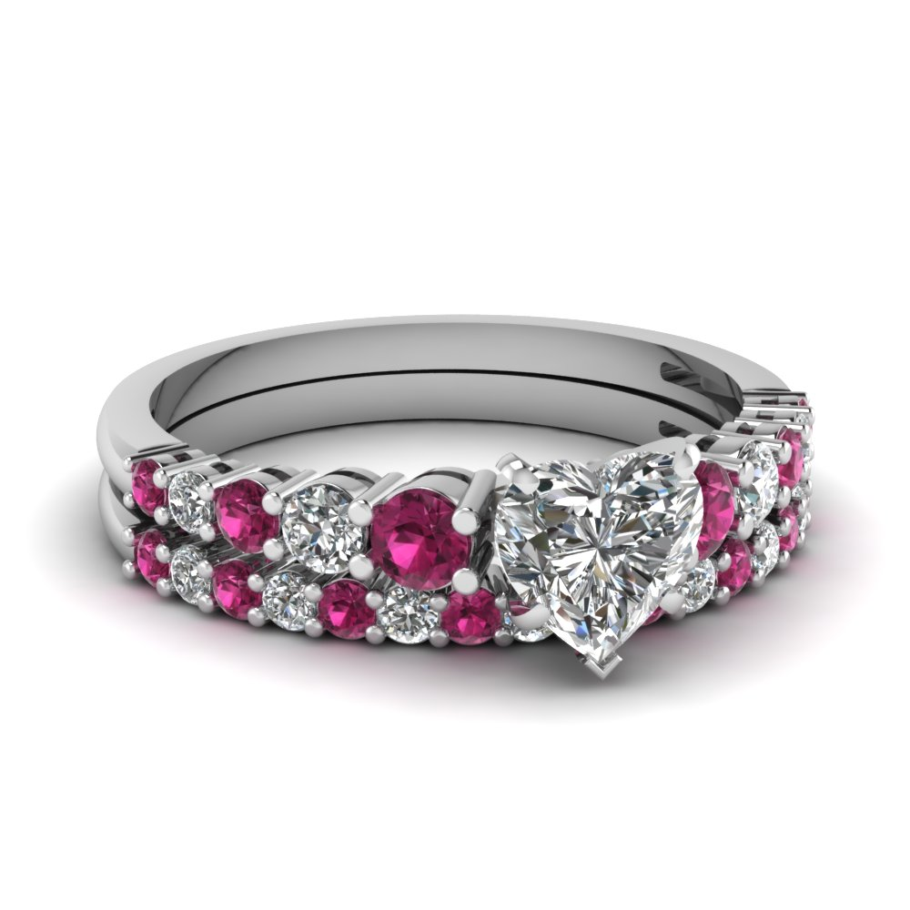 Beau ... Graduated Heart Diamond Wedding Ring Set With Pink Sapphire In  FDENS3056HTGSADRPI NL WG