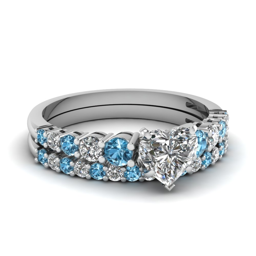 ... Graduated Heart Diamond Wedding Ring Set With Blue Topaz In  FDENS3056HTGICBLTO NL WG