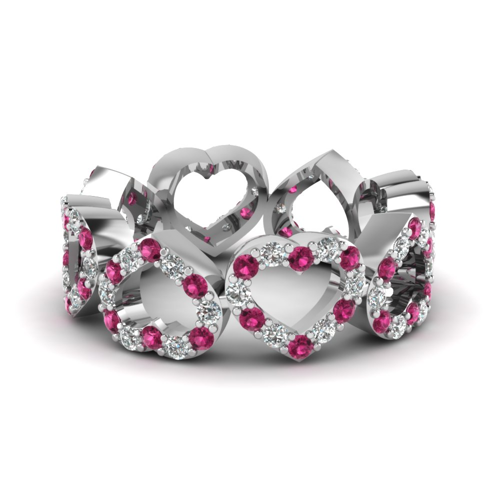 heart shape wedding band white diamond with dark pink sapphire in 14K white gold FDEWB508BGSADRPI NL WG