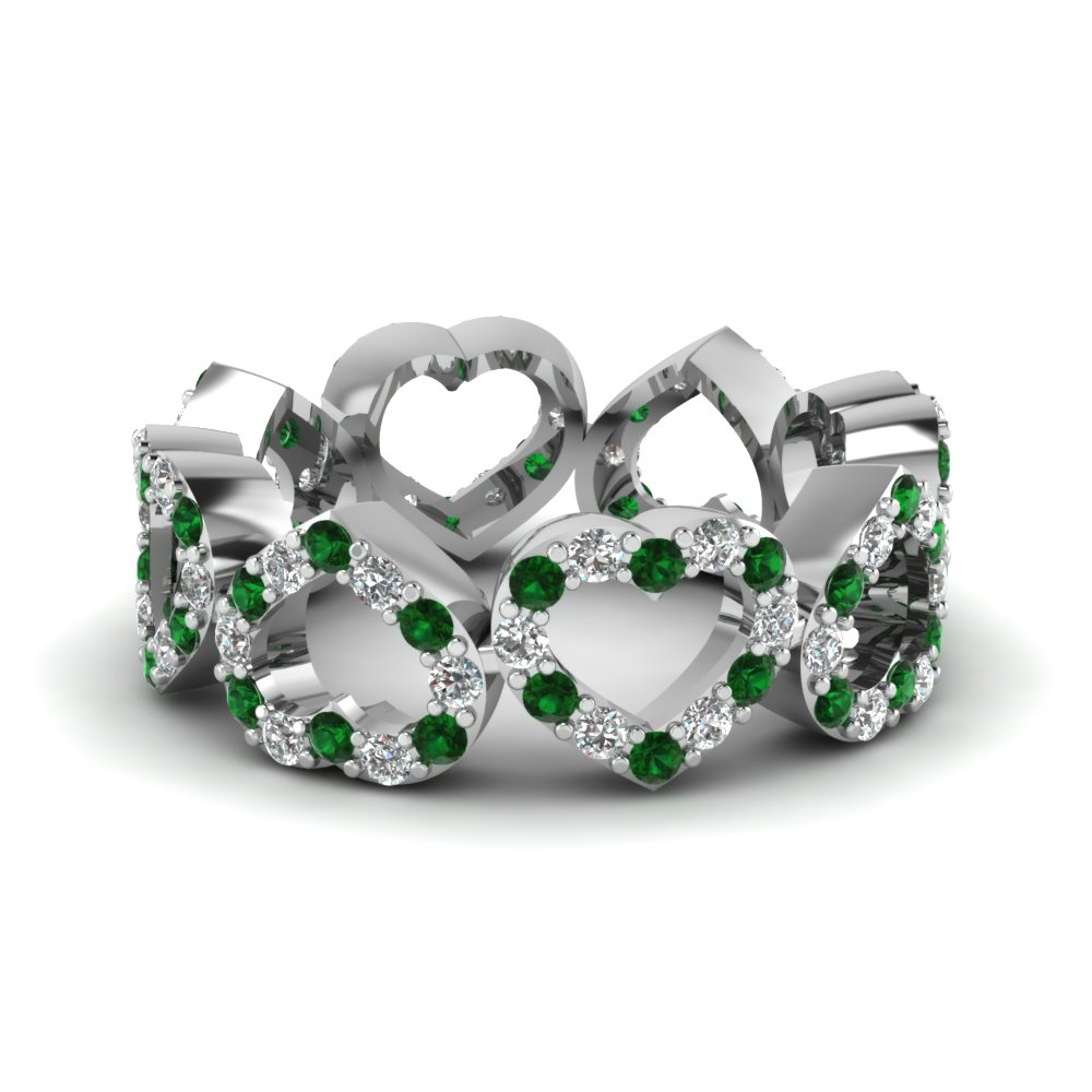 Emerald Eternity Wedding Bands For Her