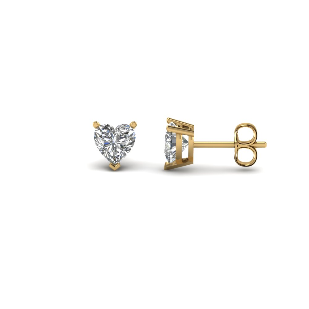 shaped white diamond home gold earrings heart in stud