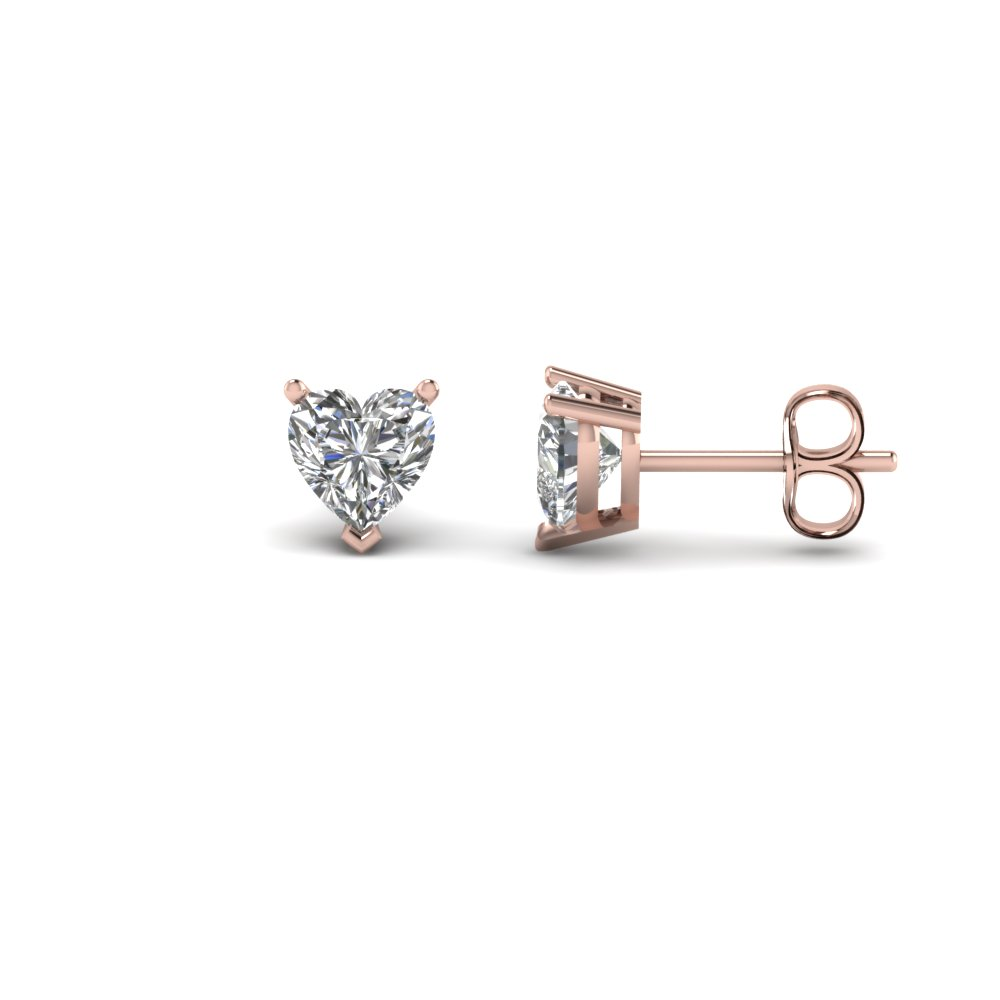 One Carat Heart Stud Diamond Earring