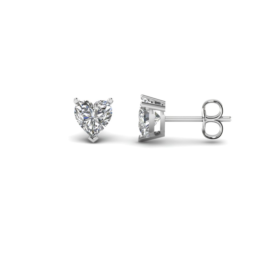 Heart Shaped 1 Carat Diamond Earrings In 18k White Gold Fdear3ht0 50ct Nl Wg