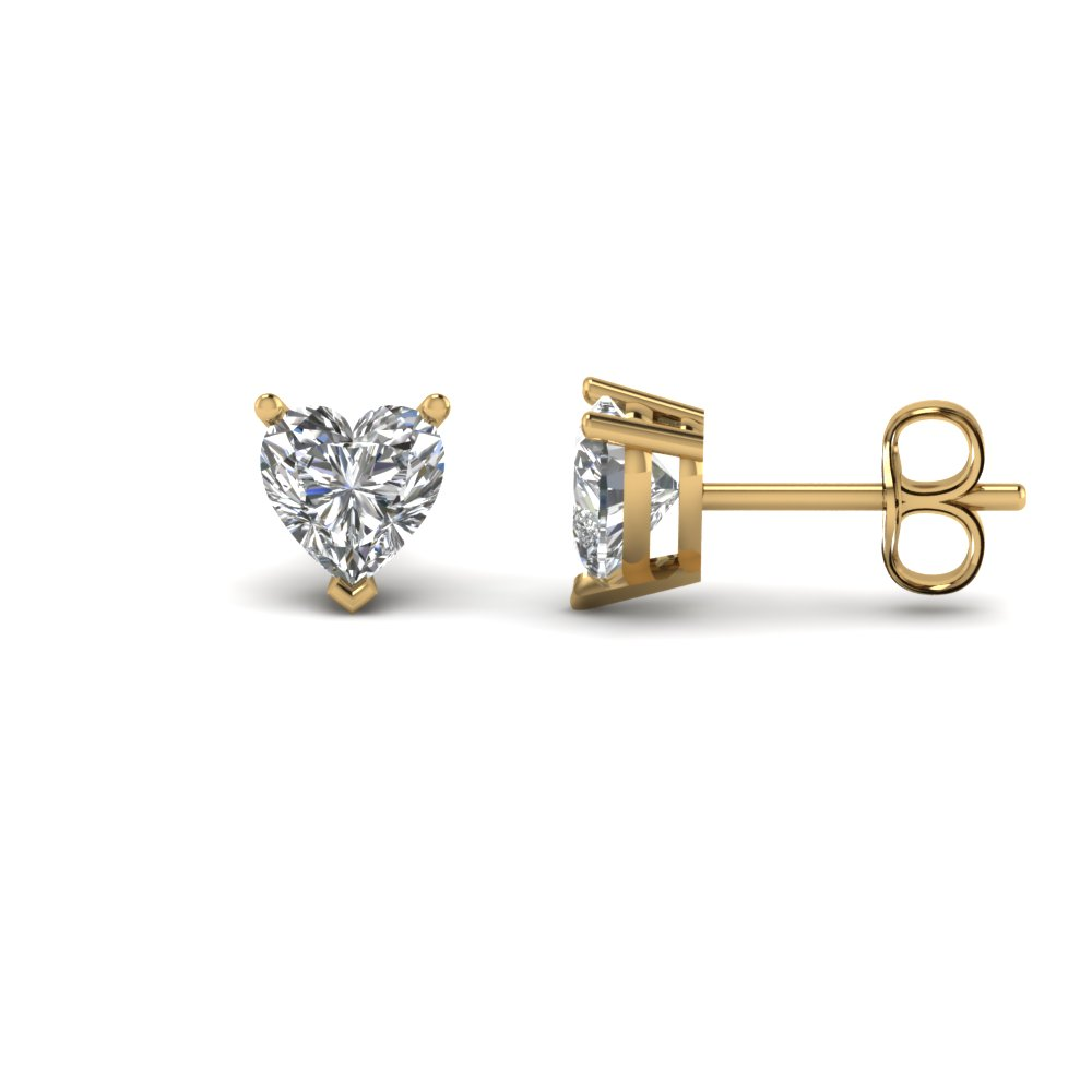heart shaped 2 carat diamond earrings in 14K yellow gold FDEAR3HT1CT NL YG