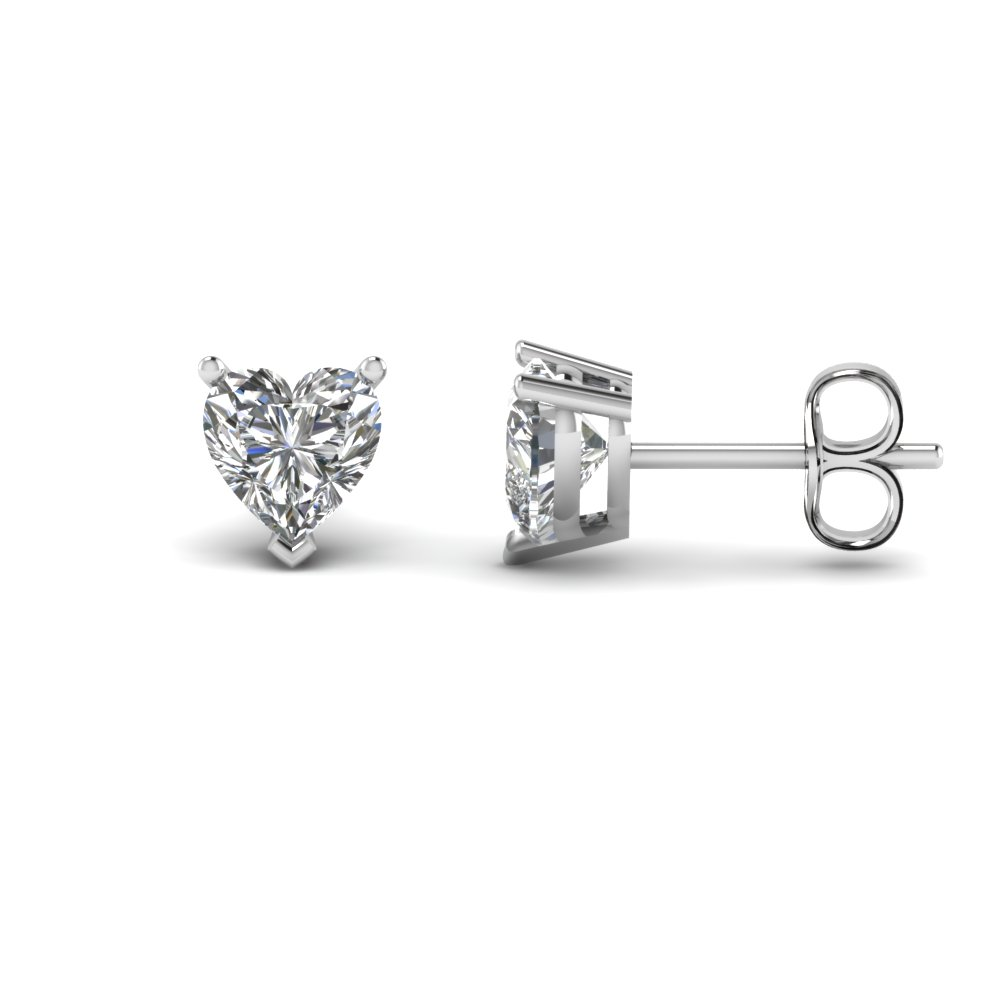 Heart Shaped 3 Carat Diamond Earrings In 14k White Gold Fdear3ht1 50ct Nl Wg