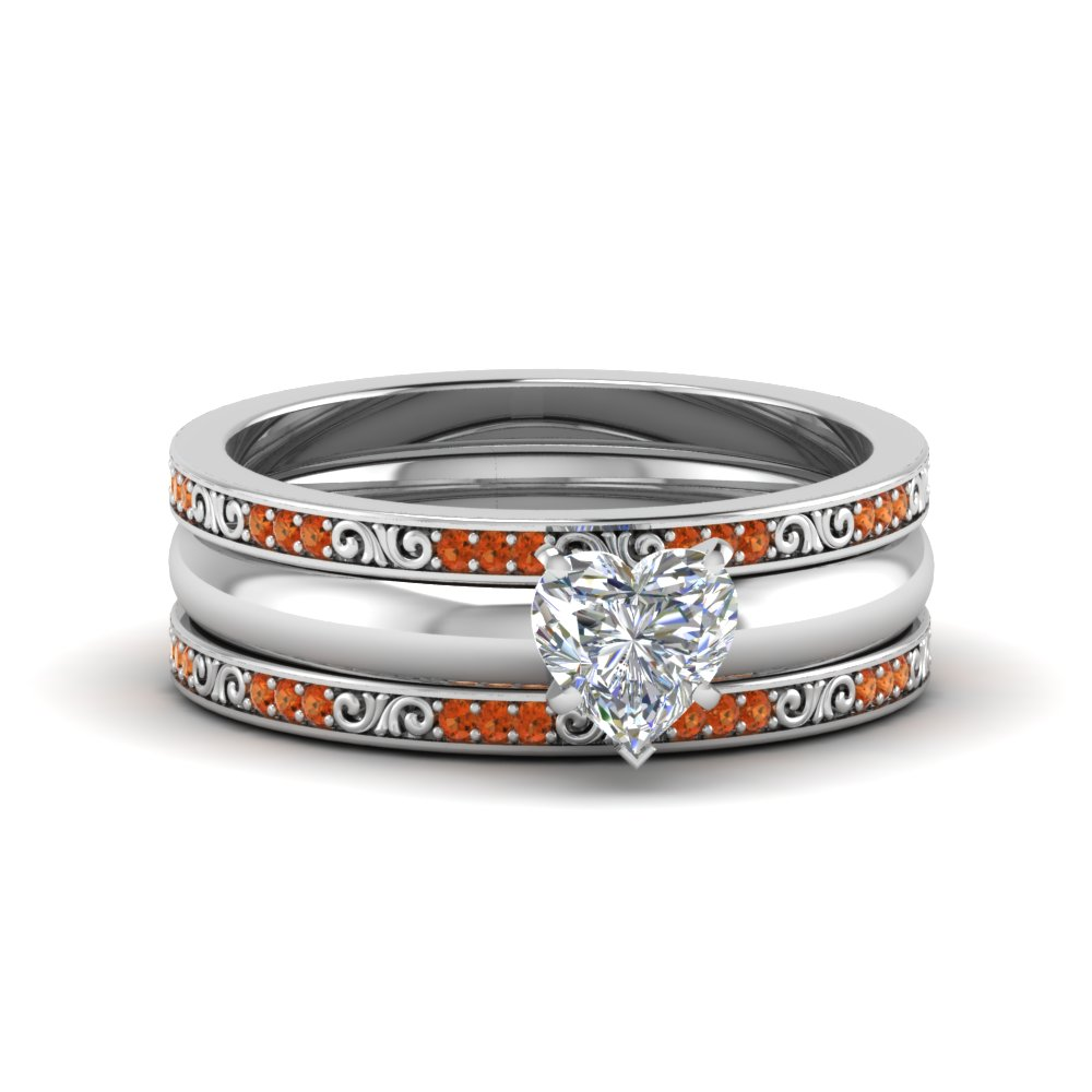 Trio Wedding Ring With Orange Sapphire