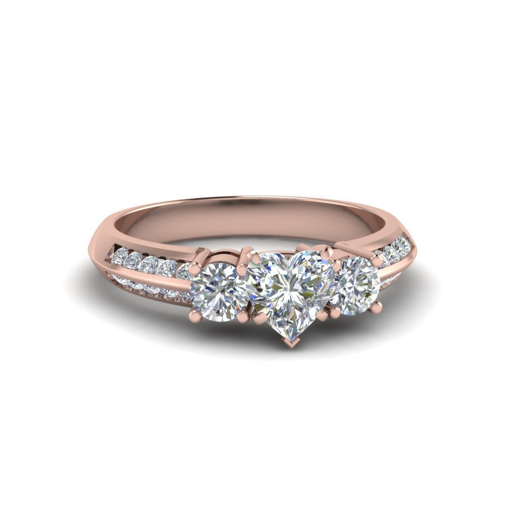 Rose Gold Heart 3 Stone Diamond Rings
