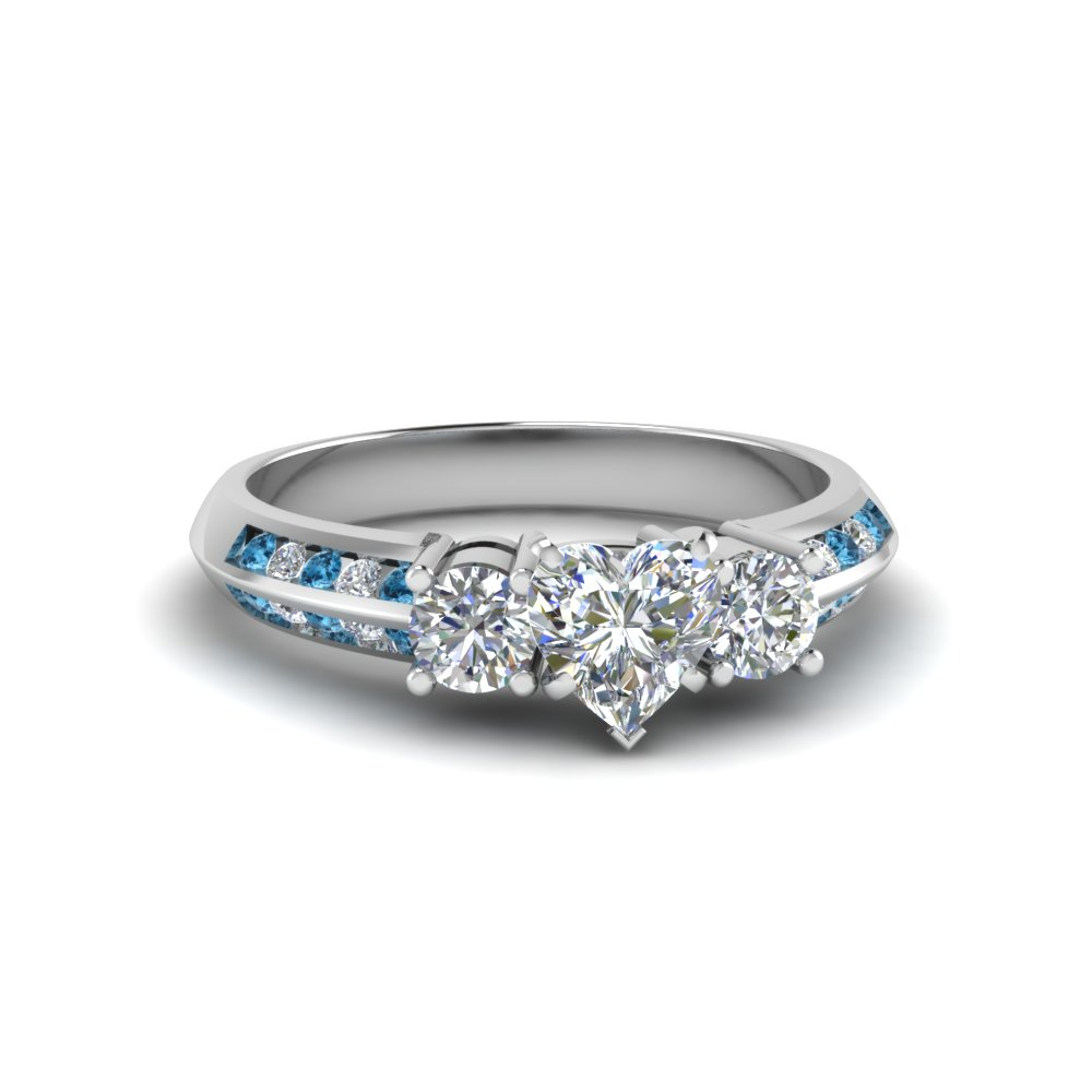 3 Stone Channel Accent Diamond Ring