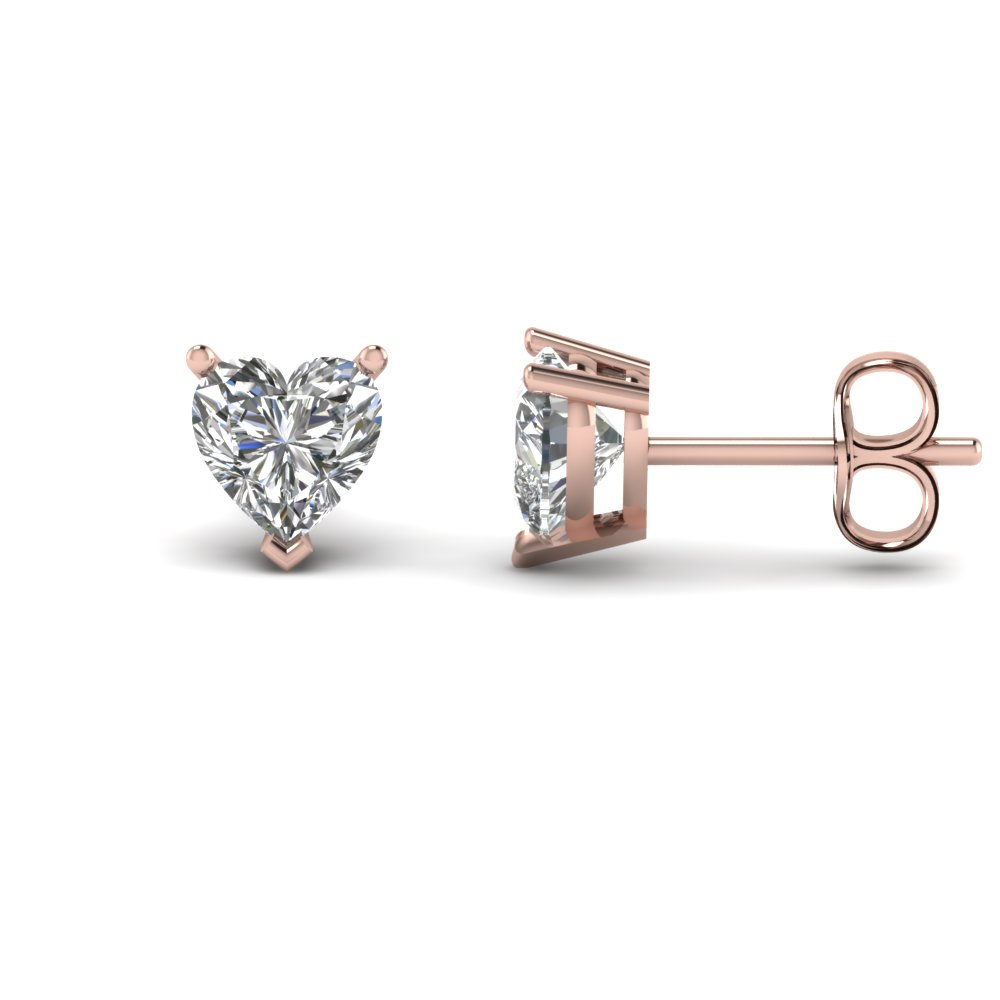 heart shaped 4 carat diamond earrings in 14K rose gold FDEAR3HT2CT NL RG