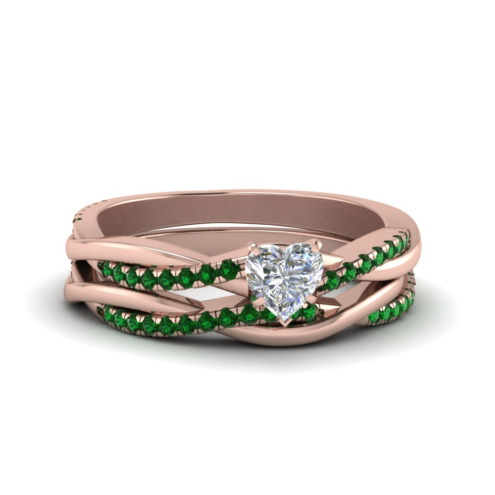 heart shaped Infinity twist lab diamond matching bridal set with emerald in FD8253HTGEMGR NL RG