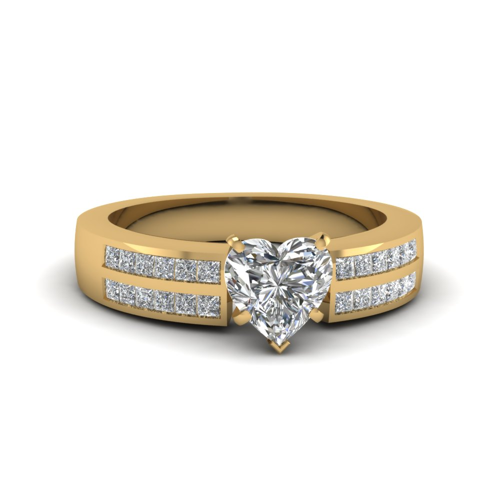 channel 2 row heart shaped diamond engagement ring in 14K yellow gold FDENS3124HTR NL YG