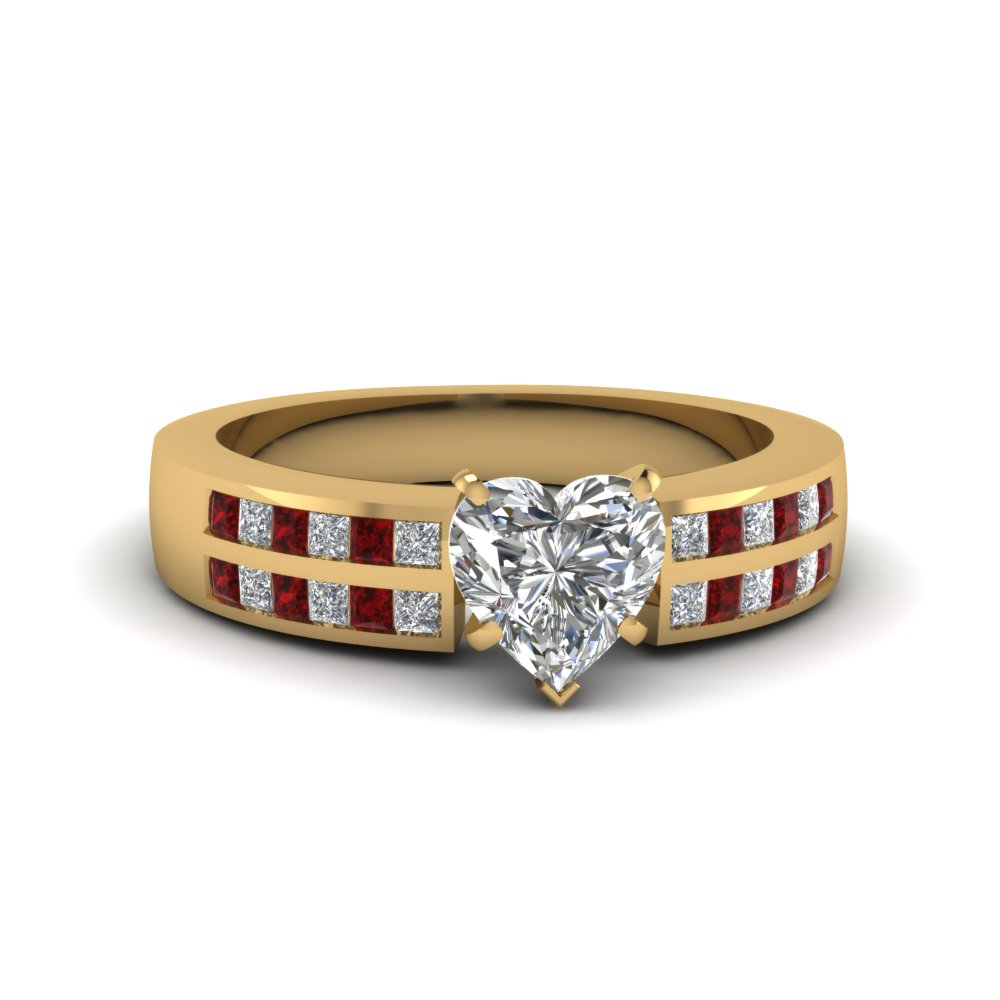 channel 2 row heart shaped diamond engagement ring with ruby in 14K yellow gold FDENS3124HTRGRUDR NL YG
