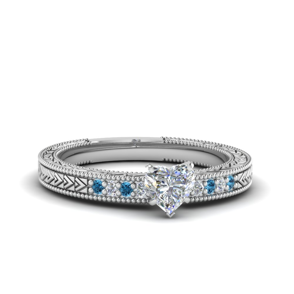 heart shaped antique design pave diamond engagement ring with ice blue topaz in FDENS3033HTRGICBLTO NL WG