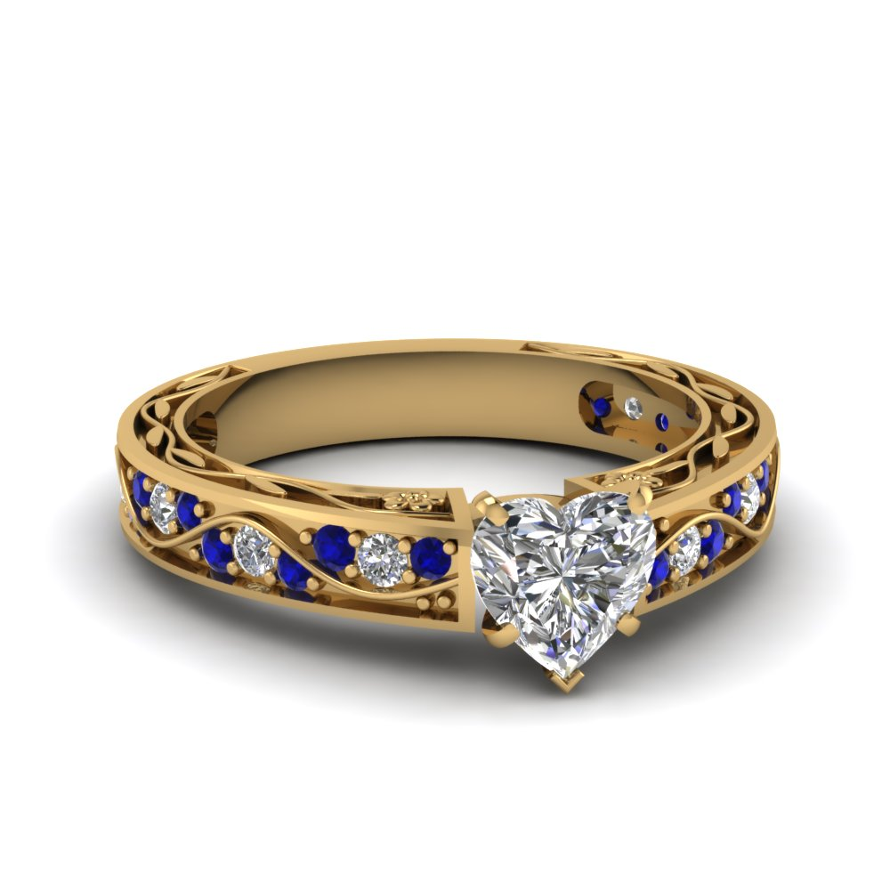 antique filigree heart shaped diamond engagement ring with sapphire in FDENS3543HTRGSABL NL YG