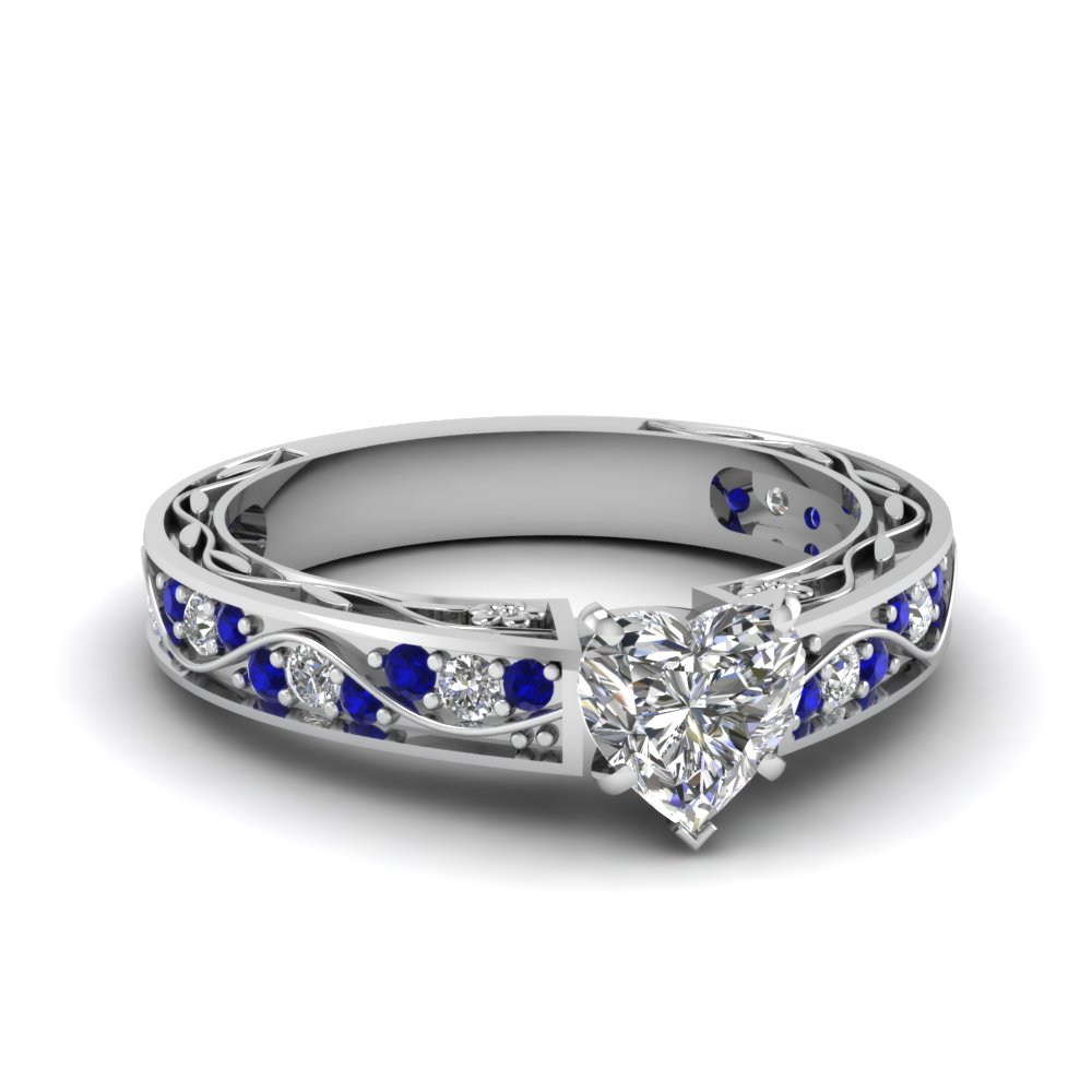 heart shaped antique filigree diamond ring with blue sapphire in FDENS3543HTRGSABL NL WG