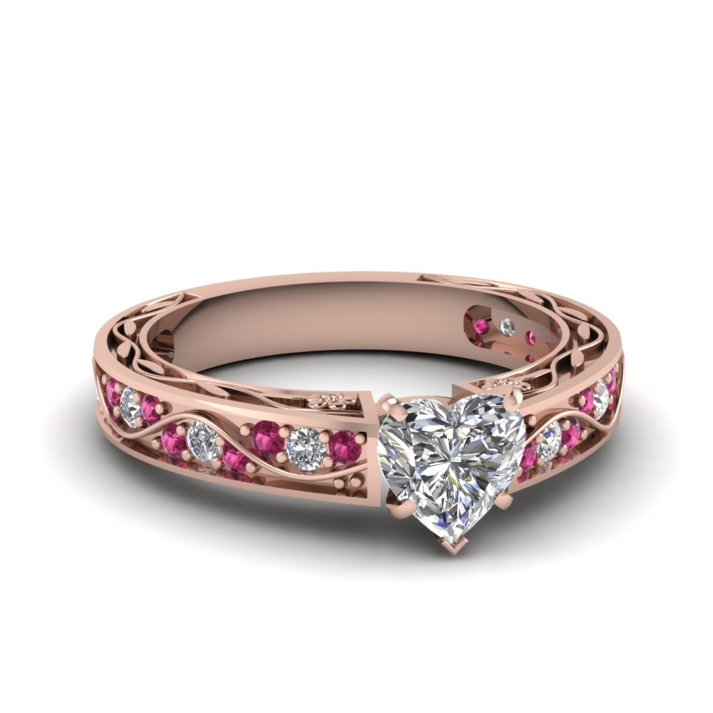 Heart Shaped Antique Filigree Diamond Ring With Pink Sapphire In 18K