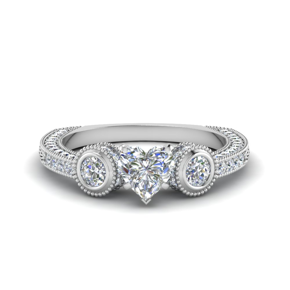 Heart Diamond Milgrain Rings