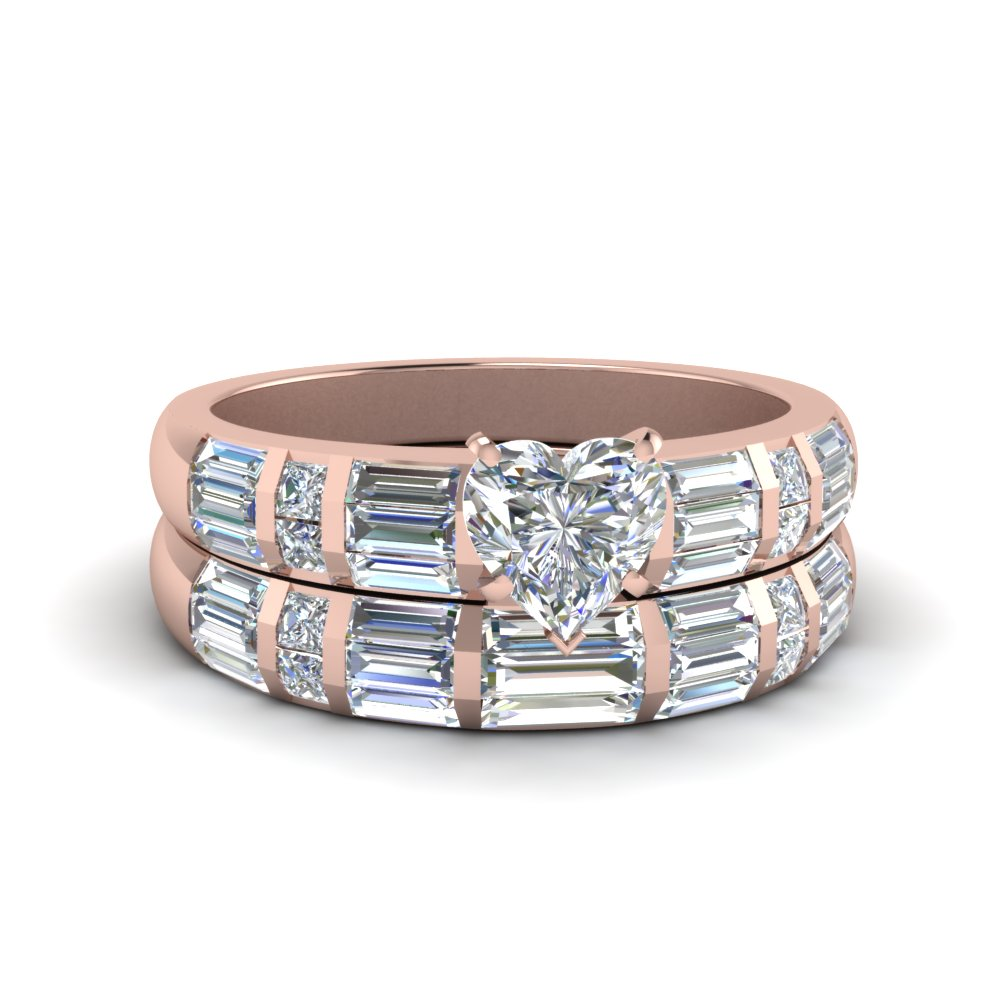 heart shaped baguette and princess diamond accent wedding set in fdenr2615ht nl rg - Rose Gold Wedding Ring Set