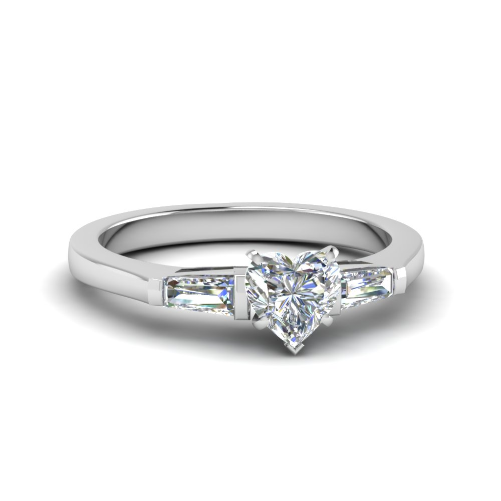 heart shaped 3 stone engagement ring in 14K white gold FDENS100HTR NL WG