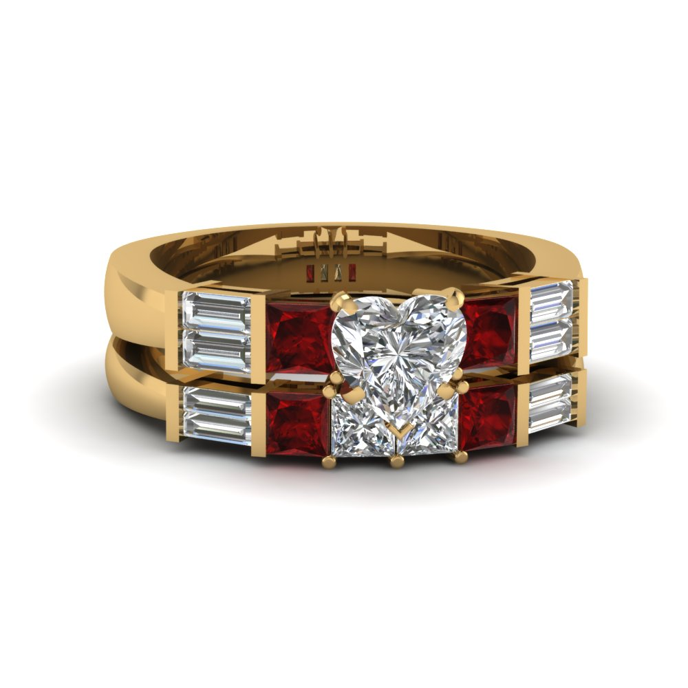 Baguette Heart Diamond Wedding Set