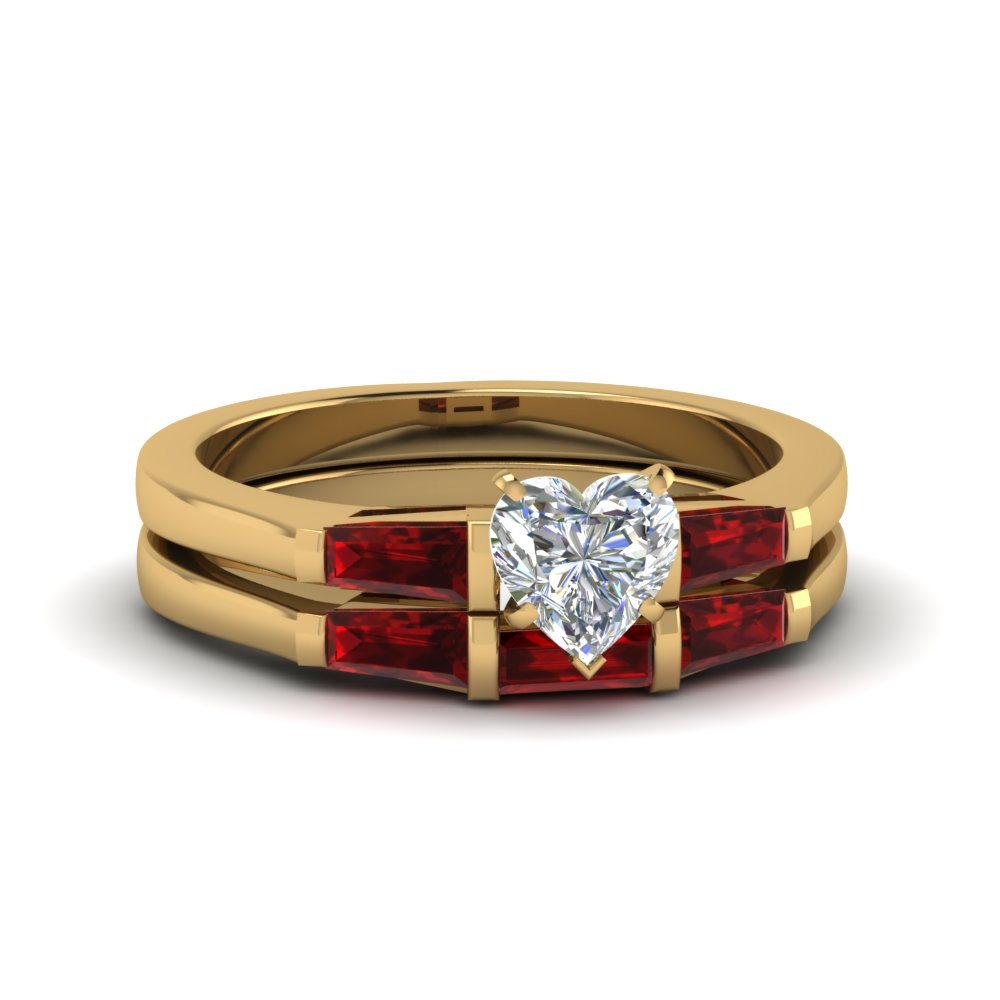 Ruby 3 Stone Wedding Ring Set