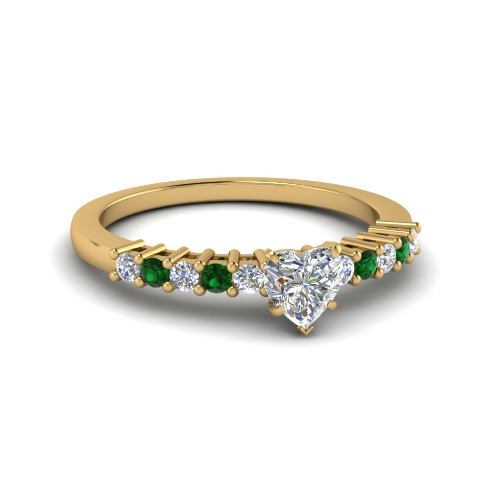Heart Cut Emerald Petite Engagement Rings