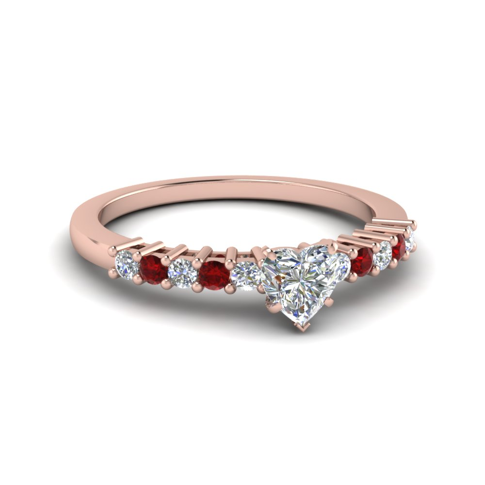 Heart Diamond Ring With Ruby