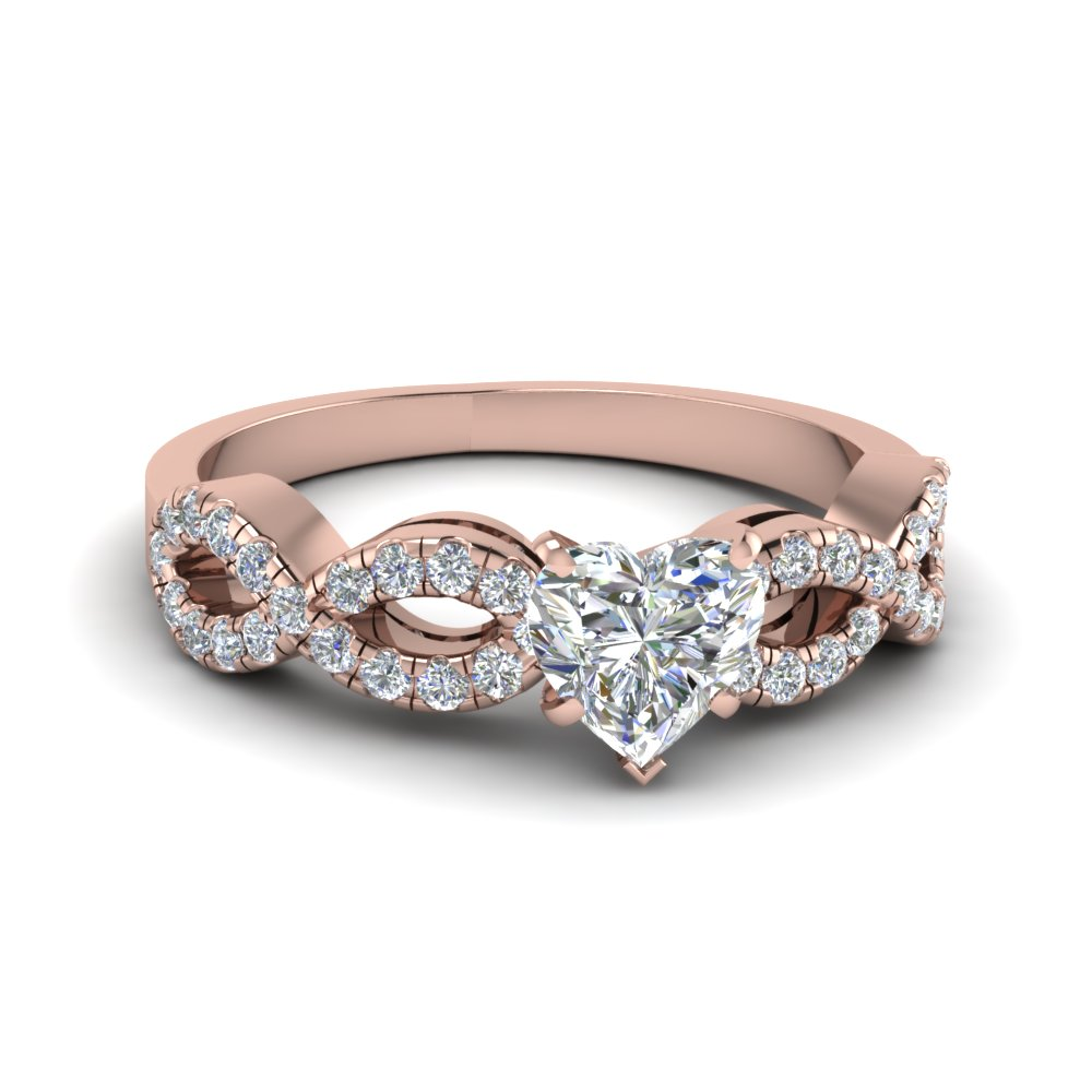 heart shaped braided diamond engagement ring in 14K rose gold FD8062HTR NL RG