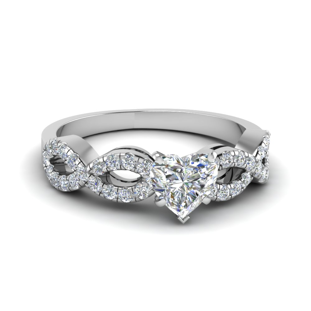 Heart Shaped Braided Diamond Band Split Shank Engagement Ring In 14k White  Gold Fd8062htr Nl Wg