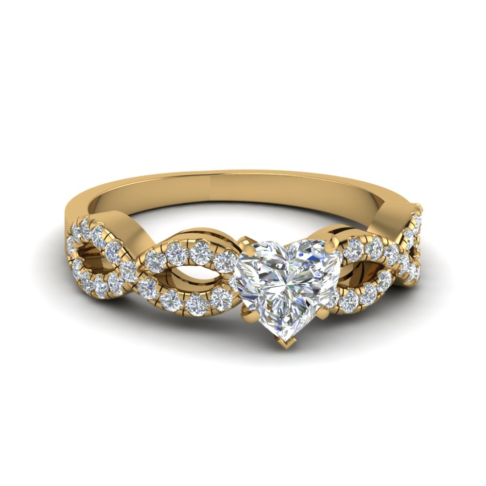 French Prong Heart Diamond Split Shank Ring