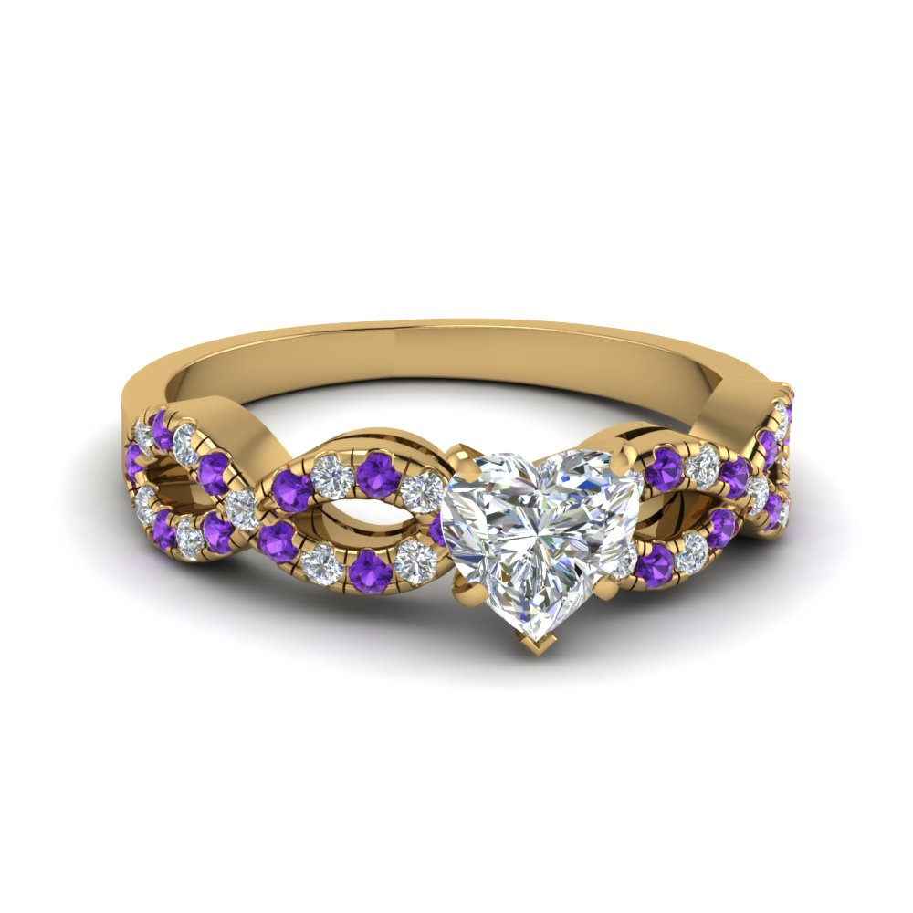Infinity Heart Shaped Yellow Gold Diamond and Purple Topaz Engagement Ring