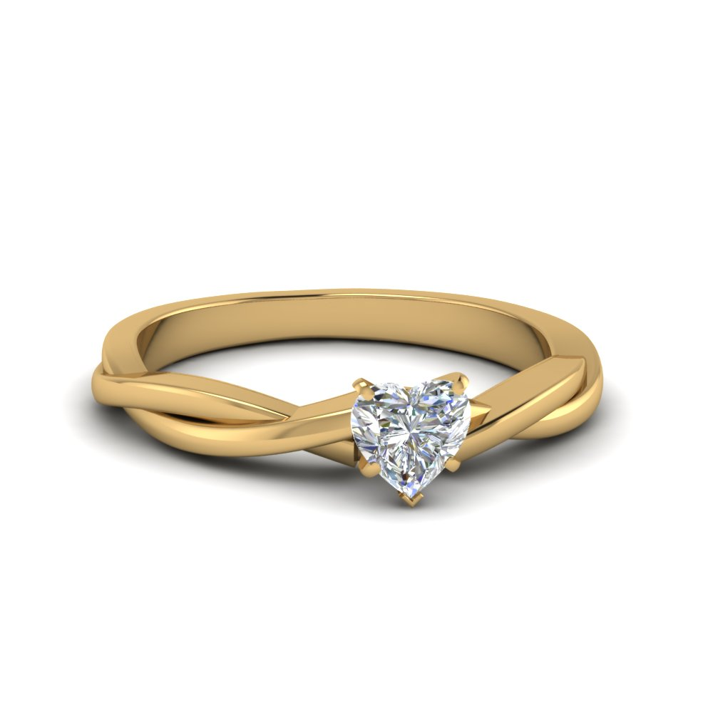 heart shaped braided single diamond engagement ring in 14K yellow gold FD8252HTR NL YG