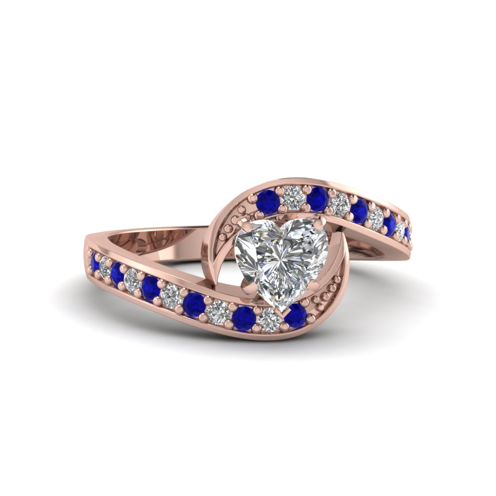 heart shaped bypass traditional delicate diamond ring with blue sapphire in FDENS3006HTRGSABL NL RG