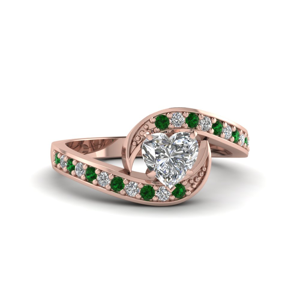 heart shaped bypass traditional delicate diamond ring with emerald in FDENS3006HTRGEMGR NL RG
