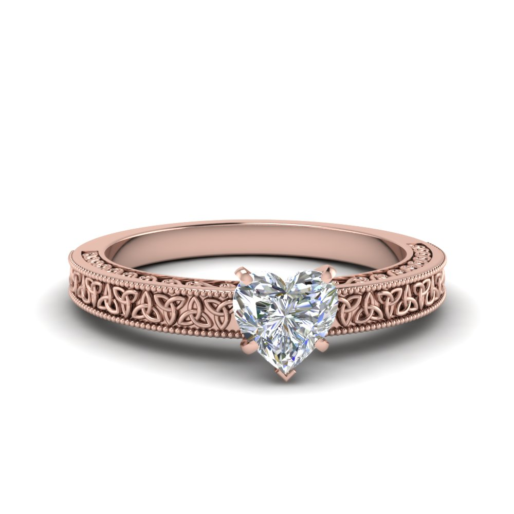 celtic engraved heart solitaire engagement ring in FD8544HTR NL RG