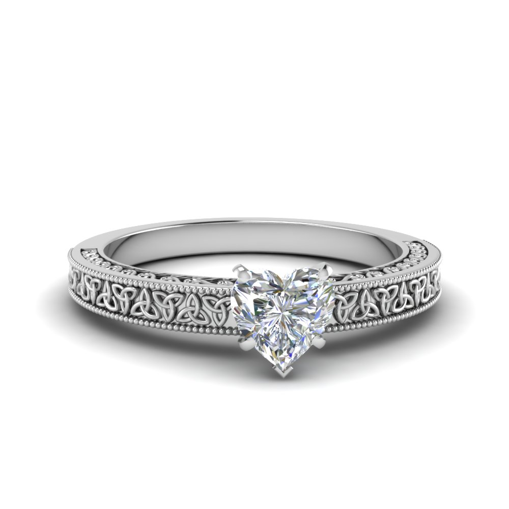 celtic engraved heart solitaire engagement ring in FD8544HTR NL WG