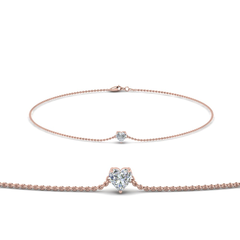 Heart Shaped Diamond Chain Bracelet In Fdbrc8656ht Nl