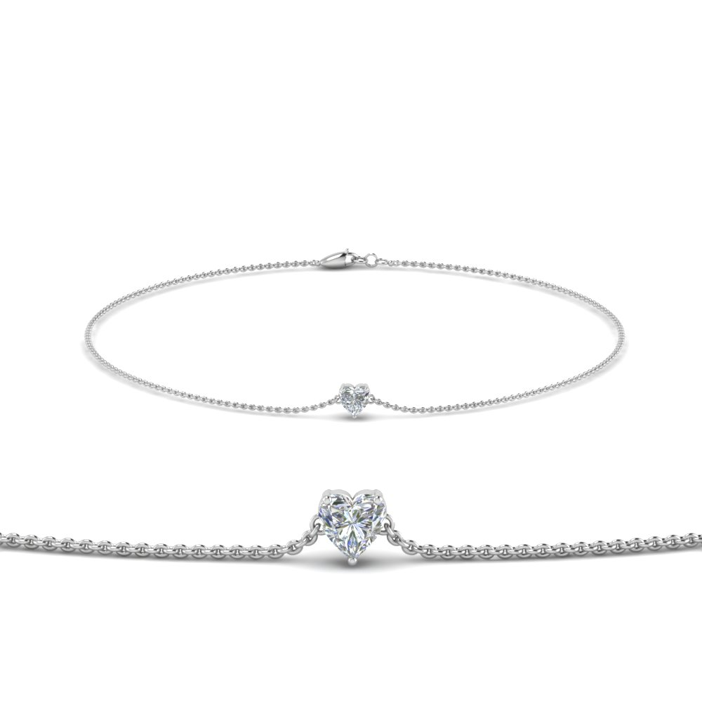 heart shaped diamond chain bracelet in FDBRC8656HT NL WG