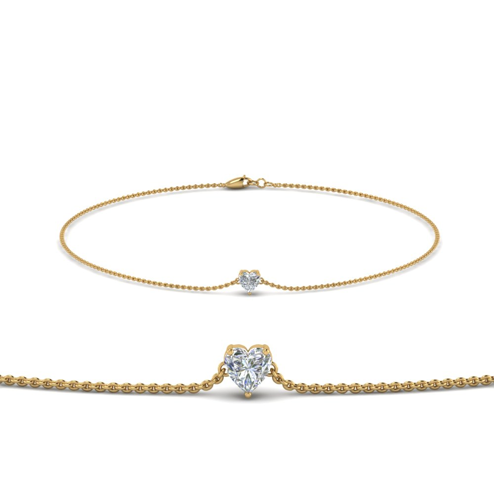 Heart Diamond Gold Chain Bracelet