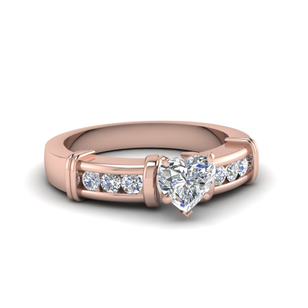 Heart Shaped Channel And Bar Set Diamond Accents Engagement Ring In 14K Rose Gold