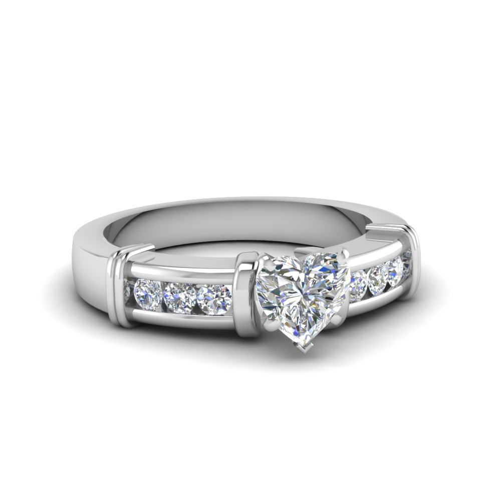 heart shaped channel and bar set diamond accents engagement ring in 14K white gold FDENR1104HTR NL WG