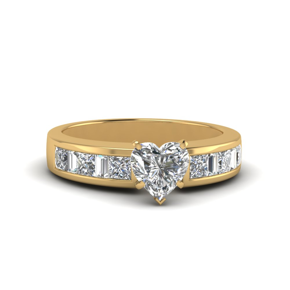 heart shaped channel baguette and princess accent diamond engagement ring in FDENS350HTR NL YG