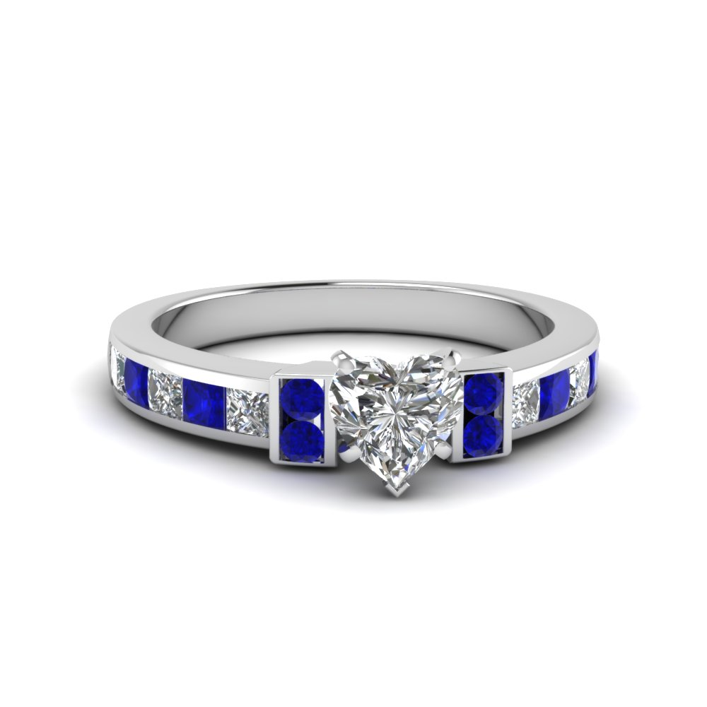 heart shaped channel bar set diamond engagement ring for women with blue sapphire in FDENR989HTRGSABL NL WG