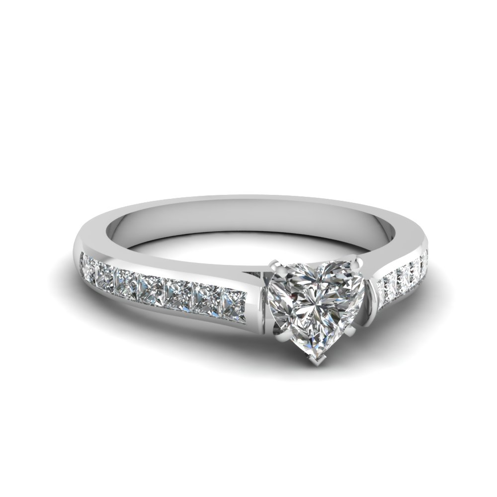 Cathedral Heart Diamond Ring
