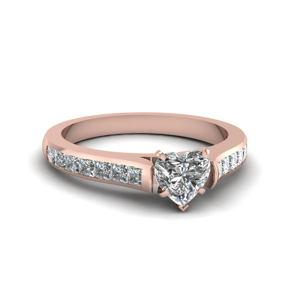 Heart Shaped Diamond with Princess Accents Engagement Ring