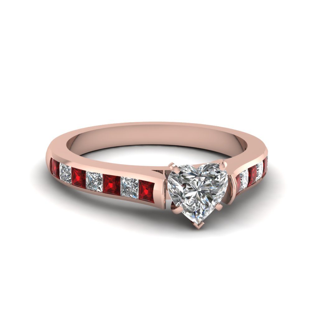 Rose Gold Heart Shaped Diamond Ring with Ruby Princess Side Stones